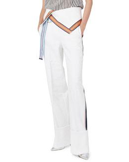 Ribbon-Stripe Wide-Leg Fold-Over Pants, White