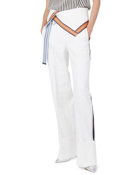 Diane von Furstenberg Ribbon-Stripe Wide-Leg Fold-Over Pants,