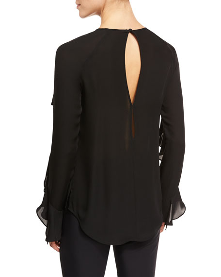 Mia Long-Sleeve Silk Ruffle Blouse