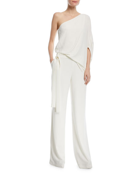One-Shoulder Draped Wide-Leg Jumpsuit