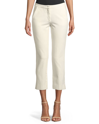 Drake Straight-Leg Cropped Trousers  Ivory