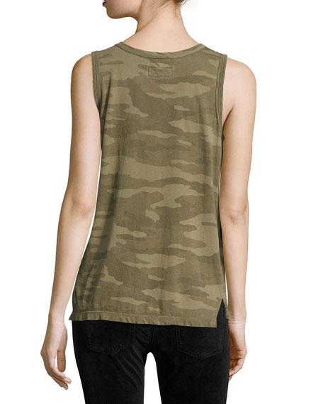 The Muscle Tee Camo-Print Tank, Green Pattern
