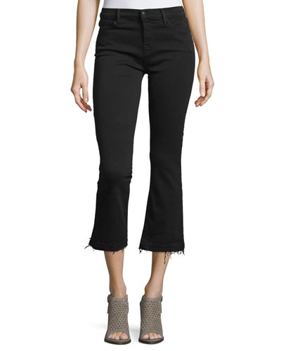 Selena Cropped Boot-Cut Jeans  Black