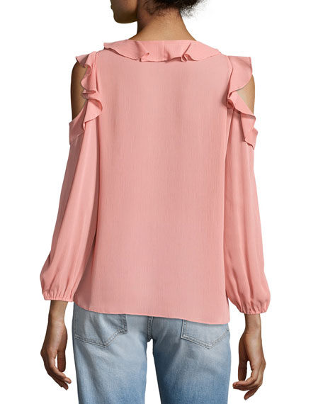 Gia Cold-Shoulder Ruffle Blouse