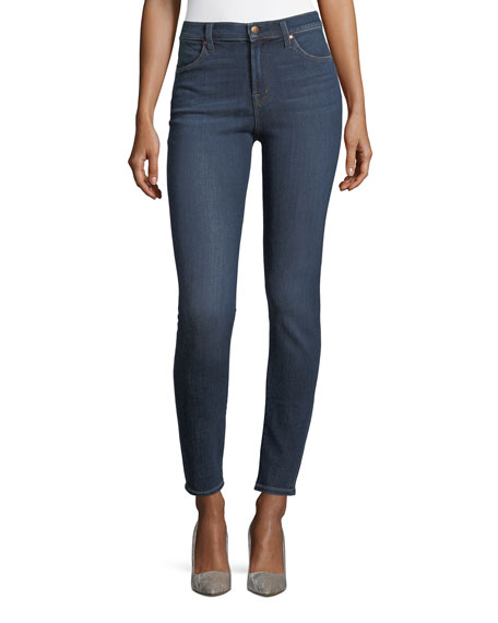 Maria High-Rise Super-Skinny Jeans, Medium Blue