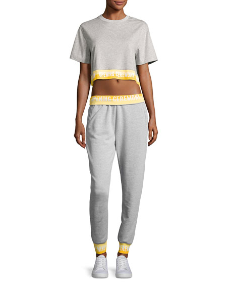 Heathered Jersey Elastic-Logo Sweatpants
