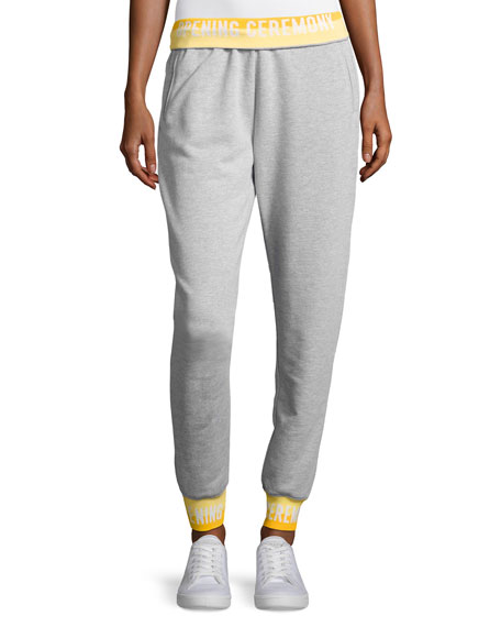 Heathered Jersey Elastic-Logo Sweatpants