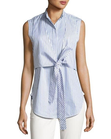 Sleeveless Striped Tie-Front Poplin Shirt, Blue