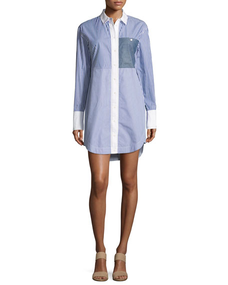 Jay Long-Sleeve Striped Shirtdress, Multicolor
