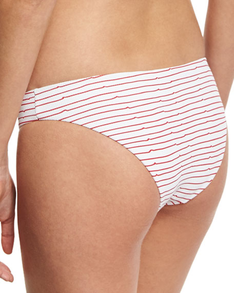 Lily Pique Hipster Swim Bottom, Red/White