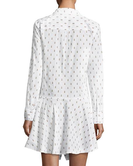 Tie-Waist Shirtdress W Button Detail