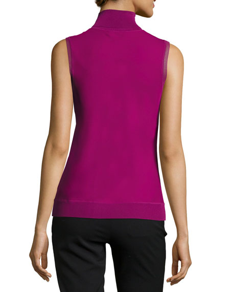 Silk Bias Turtleneck Sleeveless Top