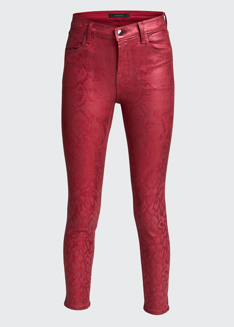 Alana High-Rise Cropped Coated Jeans