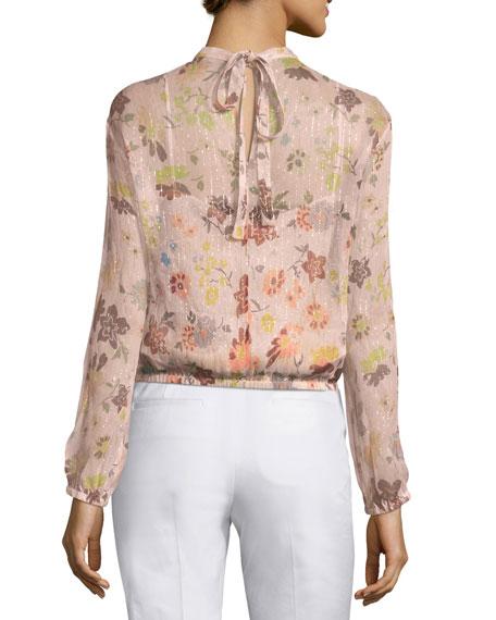 Long-Sleeve Sheer Floral-Print Lurex® Combo Blouse
