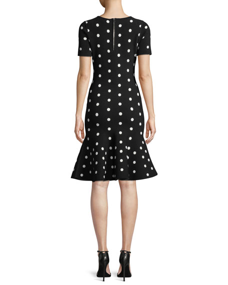 Short-Sleeve Polka-Dot Mermaid Dress