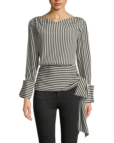 Alba Crossover Striped Tie-Waist Silk Blouse