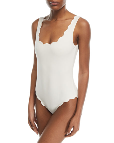 Image 1 of 1: Palm Springs Scalloped One-Piece Swimsuit, Kava