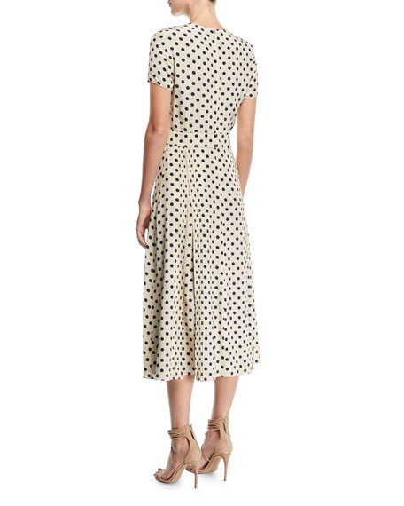 Short-Sleeve Dotted Long Dress
