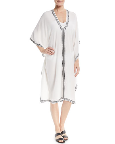 Boubou Spade-Embroidered V-Neck Silk Coverup Dress  One Size
