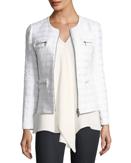 Emelyn Zip-Front Tweed Jacket