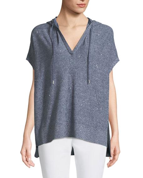 Sequined Mouline Oversized Short-Sleeve Hoodie