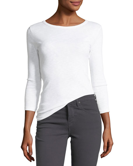 Crewneck 3/4-Sleeve Cotton-Blend Top