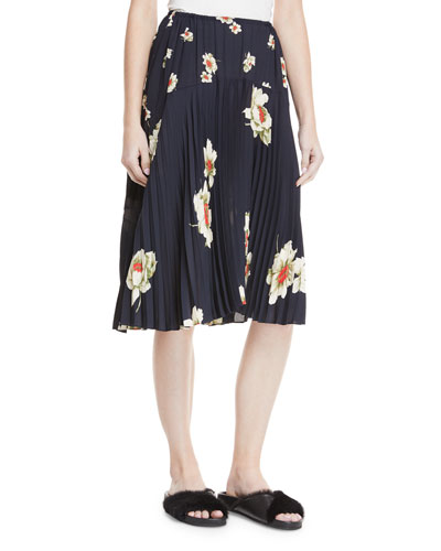 Gardenia Floral-Print Pleated Seamed Midi Skirt