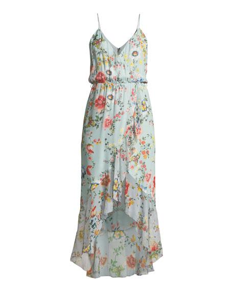 Mable Mock-Wrap Floral-Print Silk Chiffon Dress