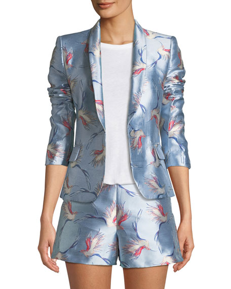 Macey One-Button Bird-Print Satin Jacket