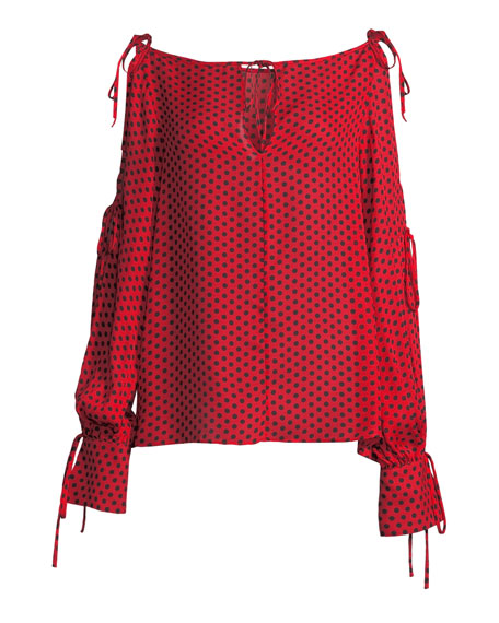 Connie Polka-Dot Silk Top with Tie Details