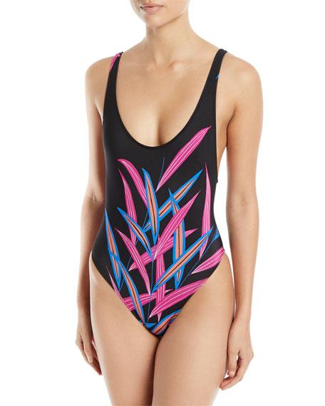 Diane von Furstenberg Printed High-Leg One-Piece Swimsuit