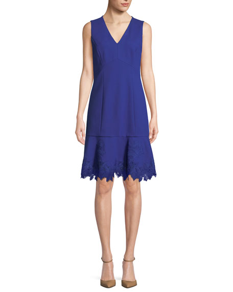 Image 1 of 1: Darianna V-Neck Sleeveless A-Line Crepe Dress w/ Lace Hem