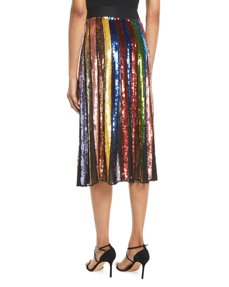 c3a69014a0 Alice + Olivia Tianna High-Rise Sequin Lace Midi Skirt