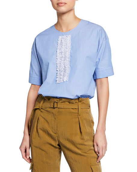 Short Sleeve Top With Front Ruffle Detail