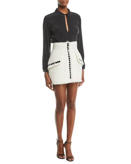 de4b3785a8e9 High-Waist Contrast-Button Tweed Skirt