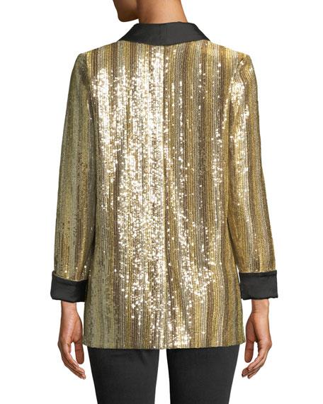 Jace Shawl-Collar Oversized Sequin Tux Blazer