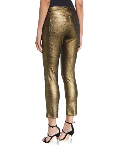 Mercer Shimmer Stretch Suede Cropped Pants