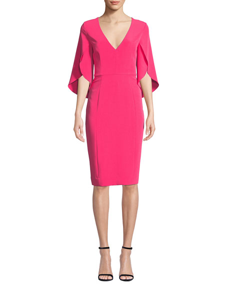 Image 1 of 1: Jana Butterfly-Sleeve Cady Sheath Dress