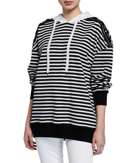 Cotton Stripe Drawstring Hoodie w/ Embellishments