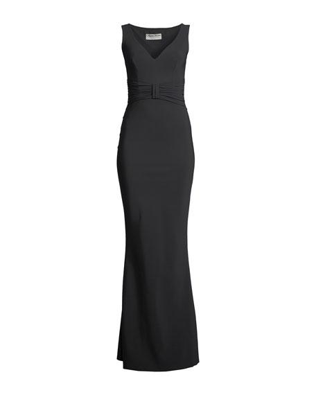 Claudetta Sleeveless Gown w/ Bow Detail