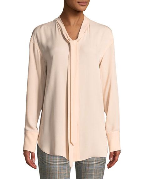 Weekender Tie-Neck Long-Sleeve Classic Georgette Silk Top