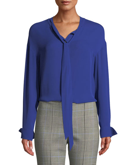 Image 1 of 1: Weekender Tie-Neck Long-Sleeve Classic Georgette Silk Top