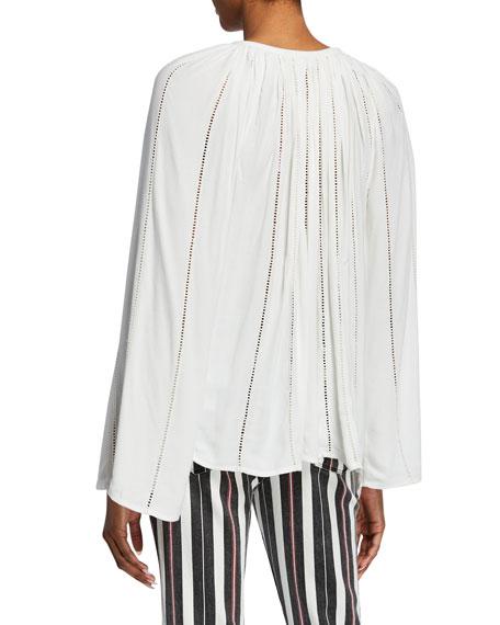 Lattice Long-Sleeve V-Neck Peasant Top
