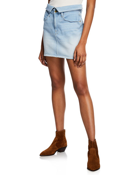 FRAME Le High Mini Fold-Over Denim Skirt