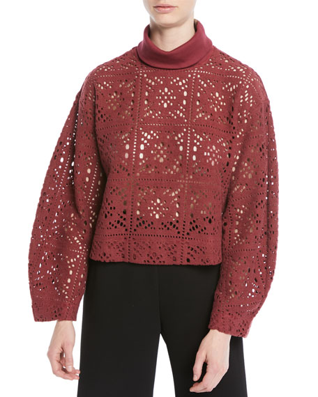 Image 1 of 1: Turtleneck Long-Sleeve Cutout Sweater