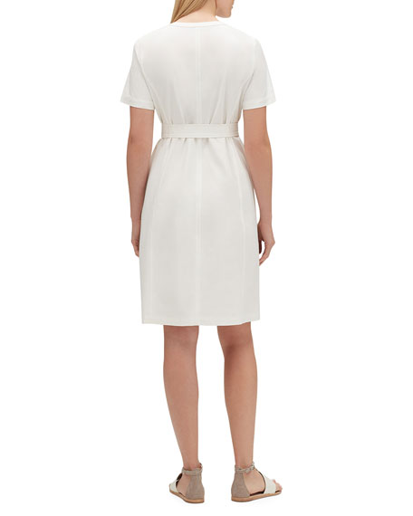 Elizabella Zip-Front Short-Sleeve Fundamental Bi-Stretch Dress