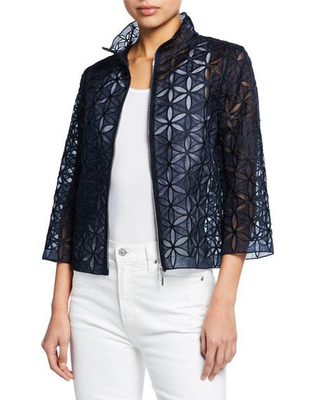 Rainer Zip-Front Floral-Patterned Cropped Jacket