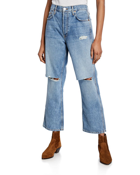 Image 1 of 1: Low Slung Crop Distressed Jeans