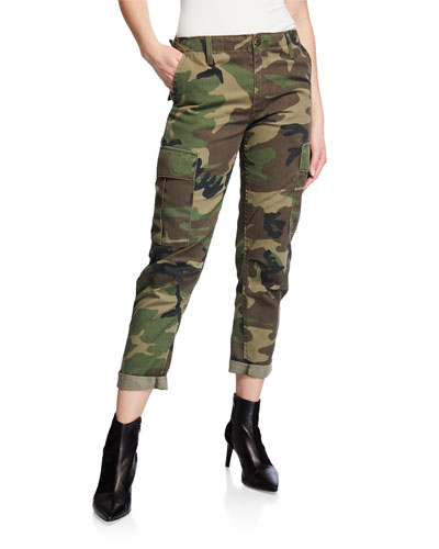 Camo-Print Straight-Leg Cargo Pants