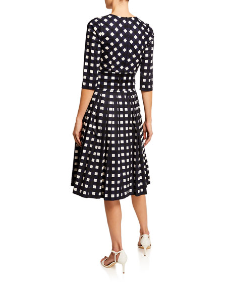 Florence Bomber Check Crewneck 3/4-Sleeve Mod Dress